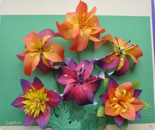 Сегодня сделались вот такие цветочки. Всё началось с того, что у меня появилась гофробумага, да не простая, а радужной расцветки.  фото 13