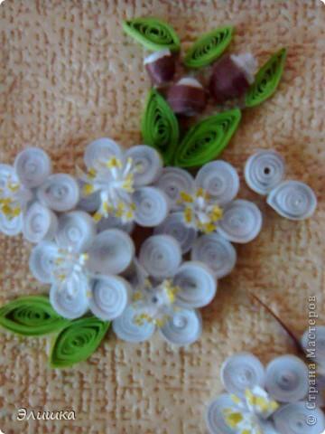 Здравствуйте!Хочу показать небольшую работу,которая называется цветение вишни.Ну вот,осень на дворе-а у меня весна!Работа небольшая,извините за качество фото.В жизни она не такая яркая,и смотрится мило)) фото 4