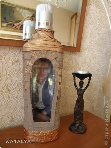 Понравилась бутылка-крепость у Катюся,делала по её мастер классу,большое спасибо.Крышку не придумала как задекорировать,решила оставить так,всё равно будут открывать. фото 6