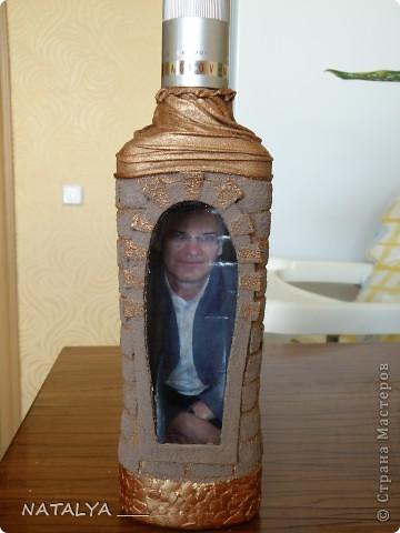 Понравилась бутылка-крепость у Катюся,делала по её мастер классу,большое спасибо.Крышку не придумала как задекорировать,решила оставить так,всё равно будут открывать. фото 1