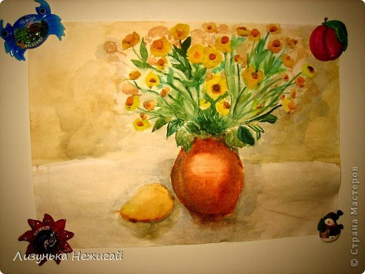 вот такой натюрморт нарисовала цветы и груша фото 2