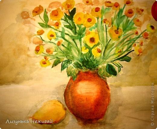 вот такой натюрморт нарисовала цветы и груша фото 1