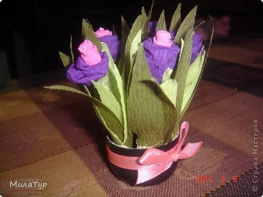 Такие мини-букеты я делала родным женщинам на праздник 8 марта. Цветы из скрученной гофрированной бумаги, закрепленные на зубочистках.  фото 2