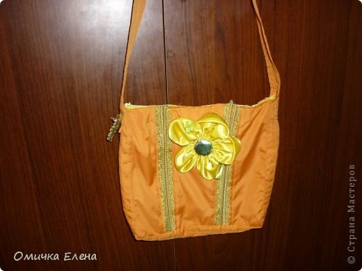 Есть у дочки оранжевый плащик,вот к нему я и сшила такую сумку.Очень удобно носить сменную одежду в садик.Размер 20*20 фото 1