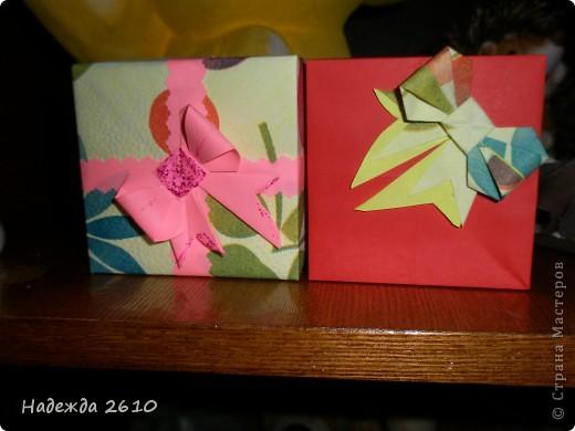 Вот такие замечательные коробочки у меня получились спасибо за МК http://stranamasterov.ru/node/100066?tid=451%2C1643 и бантики у меня тоже ничего МК тут http://stranamasterov.ru/node/17095?tid=451%2C560 тоже благодарю!!! фото 2