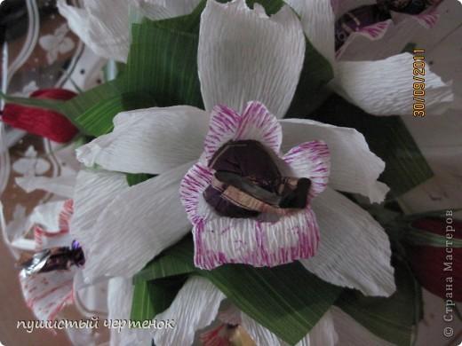 Вот такой букет из орхидей и бутонов роз пришлось сделать ко дню учителя:) В нем 9 конфет. фото 2