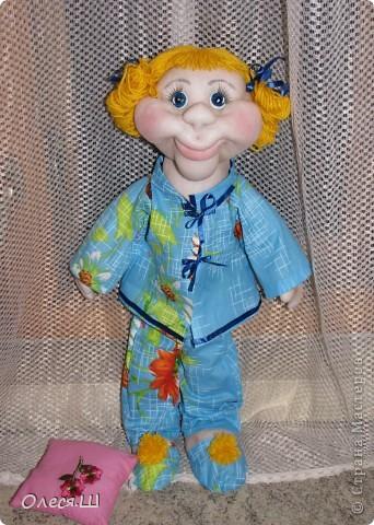 Здравствуй страна! Сегодня доделала куклу Анютку) Делала её воодушевившись Нехочухой Атаманши) Спасибо за идею. Вот такая у меня получилась девчушка. фото 3
