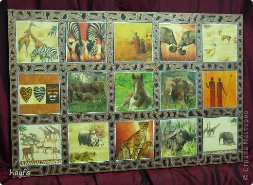 "рамка сделана в технике  point-to-point картина называется ""Safari"",в стиле декупаж. размер 60 на 80 см. фото 1"