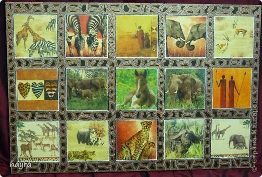"рамка сделана в технике  point-to-point картина называется ""Safari"",в стиле декупаж. размер 60 на 80 см. фото 2"