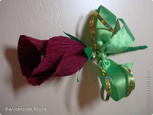 Это мой первый опыт в создании цветов из конфет. Понравилось использовать гофробумагу купленную в цветочном магазине, а не в концтоварах. Так как она более плотная. фото 4