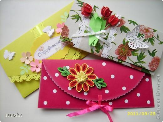 Коллега по работе попросила сделать конвертик для денежного подарка, сделала 3 на выбор, понравился с тюльпанами. Фон салфетка, наклеивала на картон, очень понравилось, т.к. красивой бумаги нет, http://stranamasterov.ru/node/41463 МК у Ирины (Голубка). фото 1