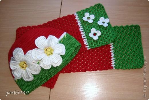 шапочка и шарфик для внучки друзей фото 1
