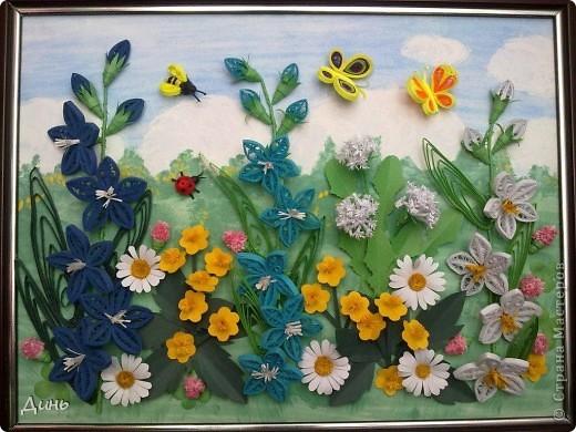 Это мои полевые цветы. Большое спасибо Анне Сожан за идею! https://stranamasterov.ru/node/87849  Увидела ее охапку полевых цветов и не смогла удержаться. Фон немного изменила. фото 1