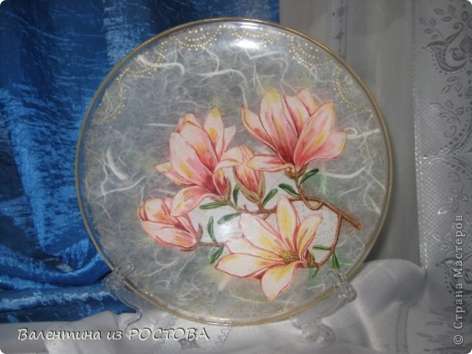 Обратный декупаж икеевской тарелки с рисовой бумагой фото 2