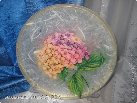 Обратный декупаж икеевской тарелки с рисовой бумагой фото 1