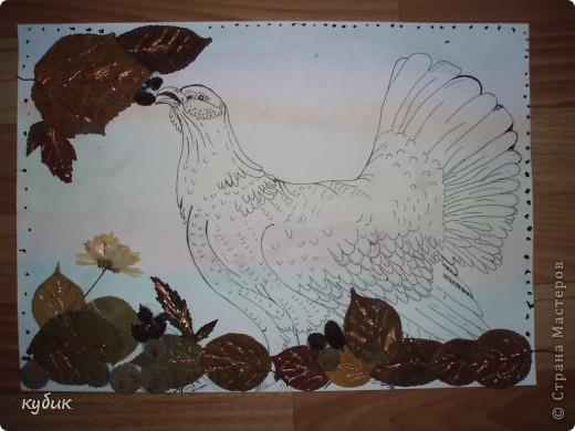 вот такую работу сделал Артуша на праздник осени, птица нарисована и листья фото 2