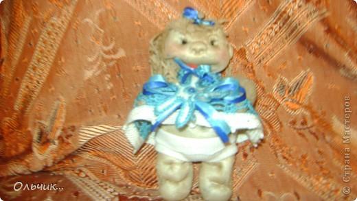 """Куколка сшита из капроновых колгот.Колготки с блеском, поэтому """"кожа"""" у моей куколки прямо сияет фото 2"""