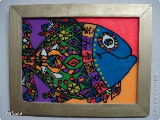 первой появилась вот такая рыбка (МК увидела в стране мастеров, автора не помню, но ему огромное спасибо!) и была она одна одинешенька........ фото 1