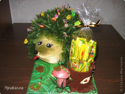 На день рождения дочери(6 лет) всей остальной семьёй сделали такого Ёжика с конфетами. С ним она сегодня ушла в дет.сад. фото 6