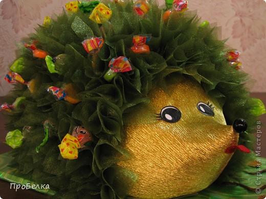 На день рождения дочери(6 лет) всей остальной семьёй сделали такого Ёжика с конфетами. С ним она сегодня ушла в дет.сад. фото 1