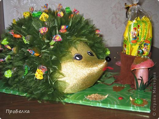 На день рождения дочери(6 лет) всей остальной семьёй сделали такого Ёжика с конфетами. С ним она сегодня ушла в дет.сад. фото 7