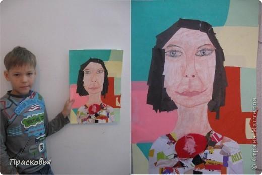 На прошлой неделе мы сделали портреты в технике коллаж. В первый день подготовили фон, вырезали шаблон головы намечали части лица. На второй день раскрасили лицо пастелью, приклеили волосы, платья из журналов, украсили блеском. фото 14