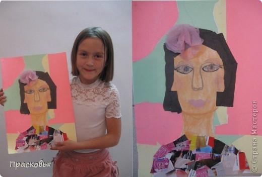 На прошлой неделе мы сделали портреты в технике коллаж. В первый день подготовили фон, вырезали шаблон головы намечали части лица. На второй день раскрасили лицо пастелью, приклеили волосы, платья из журналов, украсили блеском. фото 15
