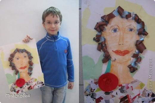 На прошлой неделе мы сделали портреты в технике коллаж. В первый день подготовили фон, вырезали шаблон головы намечали части лица. На второй день раскрасили лицо пастелью, приклеили волосы, платья из журналов, украсили блеском. фото 16