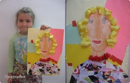 На прошлой неделе мы сделали портреты в технике коллаж. В первый день подготовили фон, вырезали шаблон головы намечали части лица. На второй день раскрасили лицо пастелью, приклеили волосы, платья из журналов, украсили блеском. фото 17