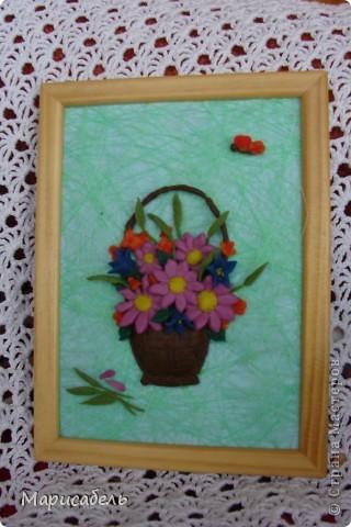 Летом в подарок бабушке решили, с дочей,  сделать коллекцию картин с цветами. Использовали  пластику ИГРОформ (очень нравится она нам) Сушили 2 дня, приклеивали моментом. Вот что получилось: фото 4