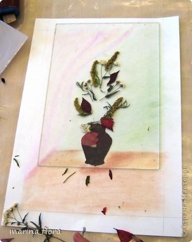 Флористика — искусство, в котором  художник  без красок и кистей рисует свои картины. В сухой лист или увядший цветок можно вдохнуть  вторую жизнь. Флористический коллаж - прекрасный вариант оформления интерьера, который не требует ни ваз, ни бесценной жилой площади для своего размещения. Эти плоскостные работы составляют реальную конкуренцию картинам,  благодаря новизне техник и использованию неповторимого растительного материала.  Композиция «РИСУЕМ ЦВЕТАМИ». Формат А3. Флористический плоскостной коллаж. Букет состоит из цветов, смонтированных из лепестков роз и георгинов, веточек солидаго. Ажур из цветов белой и зеленой гортензии, листьев малины, калины, гортензии. Блюдо – кожура банана; фрукты  из лепестков георгинов, листьев калины, кожуры оранжевого кабачка. Салфетка – скелетизированный лист. Бабочка – тельце из кожуры банана, крылышки из лепестков желтых георгин. фото 4