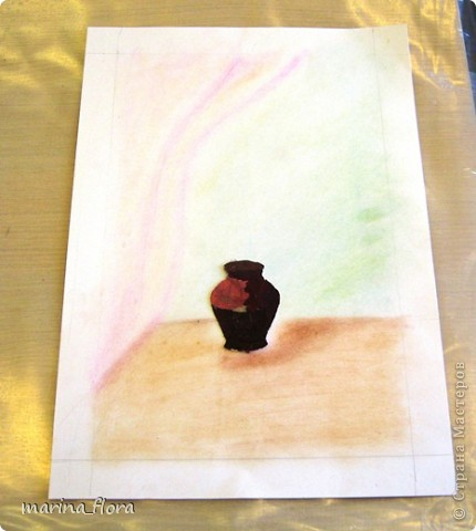 Флористика — искусство, в котором  художник  без красок и кистей рисует свои картины. В сухой лист или увядший цветок можно вдохнуть  вторую жизнь. Флористический коллаж - прекрасный вариант оформления интерьера, который не требует ни ваз, ни бесценной жилой площади для своего размещения. Эти плоскостные работы составляют реальную конкуренцию картинам,  благодаря новизне техник и использованию неповторимого растительного материала.  Композиция «РИСУЕМ ЦВЕТАМИ». Формат А3. Флористический плоскостной коллаж. Букет состоит из цветов, смонтированных из лепестков роз и георгинов, веточек солидаго. Ажур из цветов белой и зеленой гортензии, листьев малины, калины, гортензии. Блюдо – кожура банана; фрукты  из лепестков георгинов, листьев калины, кожуры оранжевого кабачка. Салфетка – скелетизированный лист. Бабочка – тельце из кожуры банана, крылышки из лепестков желтых георгин. фото 2