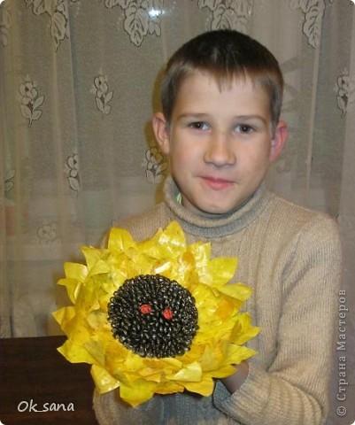 Вот такой подсолнух из семечек и кленовых листьев мы с сыном сделали в школу на выставку )) фото 3