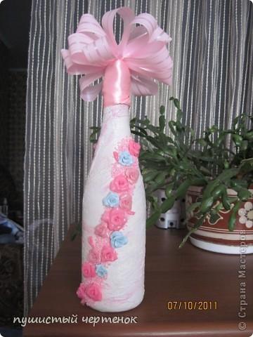 Собираюсь на крестины к малюсенькой девочке:) Вначале хотела родителям подарить бутылку с лепкой , уже и розы налепила, но потом наткнулась на работы  http://stranamasterov.ru/user/85389 И поняла, что именно нечто похожее хочу сотворить..... фото 3