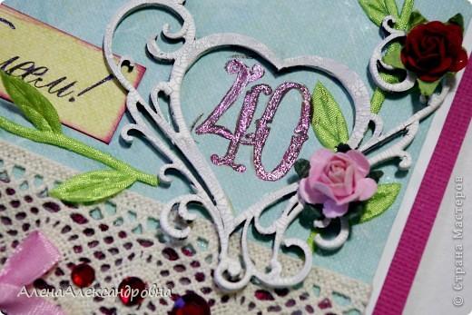 Заказали открытку на 40 годовщину свадьбы.40 лет - это рубиновая свадьба, отсюда и отталкивалась.  фото 6