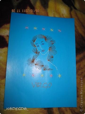 Нашла в интернете схему для девы и решила вышить свой знак, а так как дева припадает осенью сделала рамочку в осеннем стиле ))) фото 3