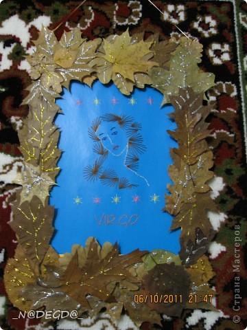 Нашла в интернете схему для девы и решила вышить свой знак, а так как дева припадает осенью сделала рамочку в осеннем стиле ))) фото 1