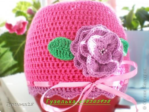 шапочка с большим цветком фото 7
