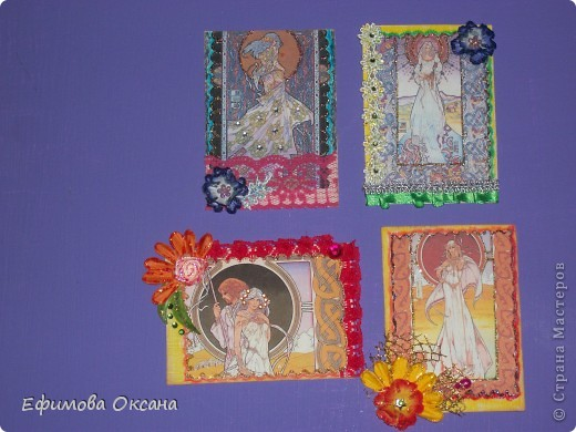 Вот такие необычные карточки у меня получились.))) Может, конечно, и не похоже на времена года, но мне показалось именно так. фото 1