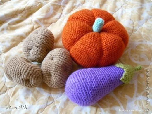 Вязаные овощи и фрукты Вязание