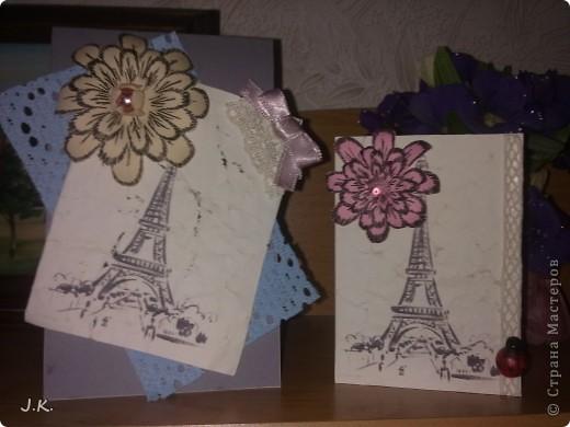 Вот такие открыточки сотворились вчера. Чем-то они мне шебби-шик напоминают, но до него не дотягивают. Башня - распечатка на слегка окрашеной кофе бумагой. фото 2