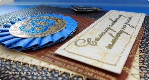 """Спасибо большое за идею Юлии Саранцевой http://stranamasterov.ru/node/121065. Такую открытку-визитницу сделала для своего папочки. По причине ограниченности времени все строчки делала машинкой. Это мой первый опыт открытка +машинная строчка.  Основная бумага картон фирмы """"Folia paper""""набор """"Точки и полосы""""  фото 3"""