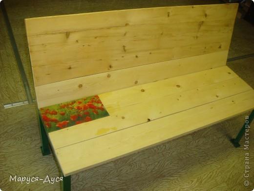 Дачная скамейка с маками, делала в августе, сделала за 1 день. фото 3