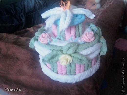 Привет всем мастерицам! примите и мой тортик по МК Татьяны Просняковой. Сделан из цветных салфеток. фото 2
