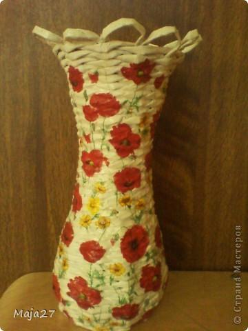 Большая ваза.Очень понравились салфетки с маками.Решила использовать их по максимуму. фото 5