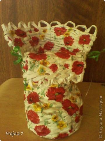 Большая ваза.Очень понравились салфетки с маками.Решила использовать их по максимуму. фото 7
