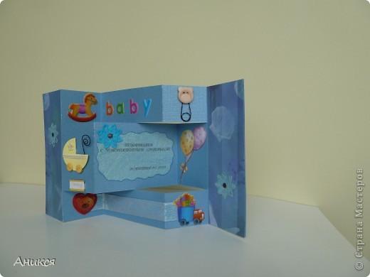 На рождение племянника мужа сделала открытку и конверт для денег. фото 2