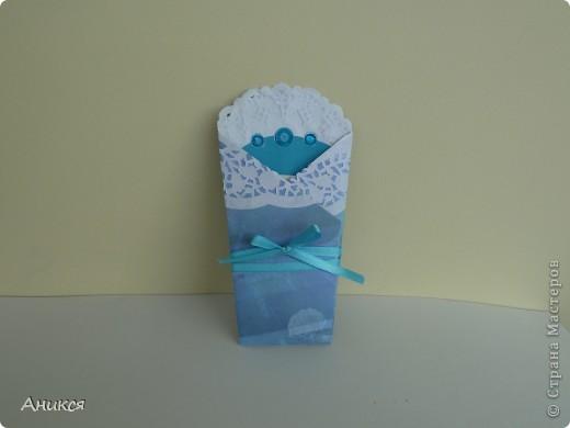 На рождение племянника мужа сделала открытку и конверт для денег. фото 3