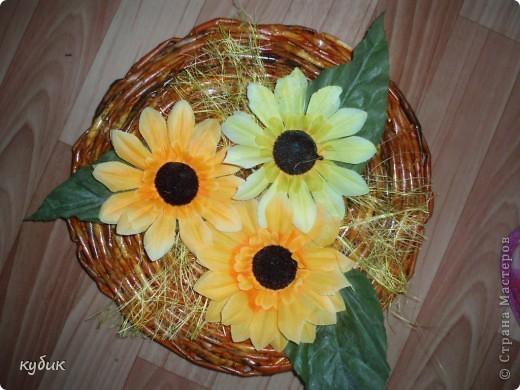 сделала вот такое панно, основу сплела цветы ткань купила фото 2