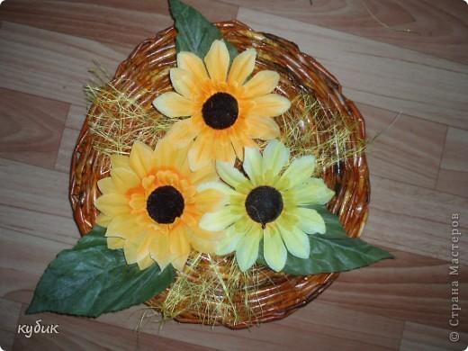 сделала вот такое панно, основу сплела цветы ткань купила фото 1